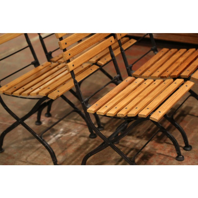 Painted Wrought Iron and Teak Wood Folding Garden Chairs, Set of Four For Sale - Image 9 of 13