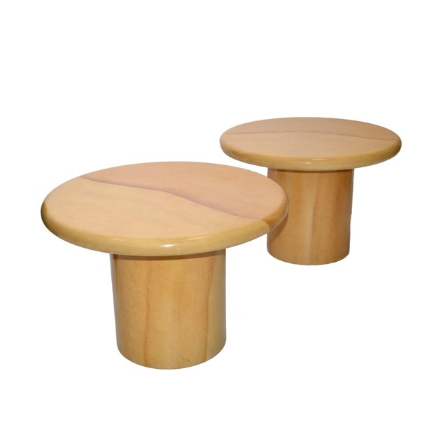 1970s Karl Springer Style Lacquered Goatskin Top Side Tables Mid-Century Modern - Pair For Sale - Image 5 of 13