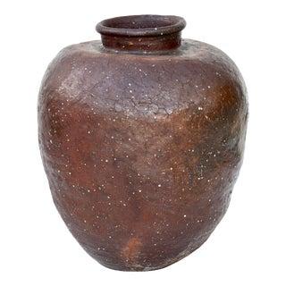 Japanese Large Stoneware Shigaraki Jar Edo Period For Sale