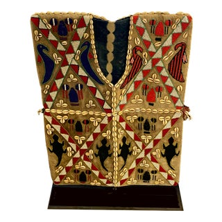 Mens African Beaded Vest on Iron Stand For Sale