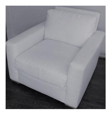 sc 1 st  Chairish & White Belgian Linen Down-Filled Maxwell Chair | Chairish