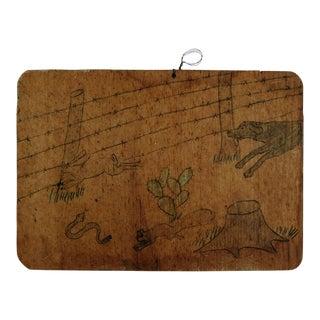 Folk Art Drawing on Wood Dog & Rabbit For Sale