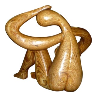 Monumental Carved Wood Nude Sculpture by Hy Farber For Sale