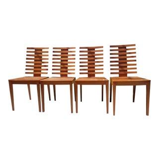 Mid Century Modern Ims Italia Structural Teak Italian Designer Dining Chairs - Set of 4 For Sale