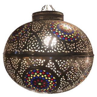 Moroccan Silver Handmade Moorish Pendant or Chandelier With Multi-Color Glass For Sale