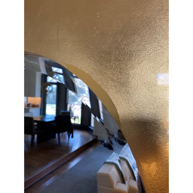 Gold Leaf Round Mirror For Sale - Image 4 of 5