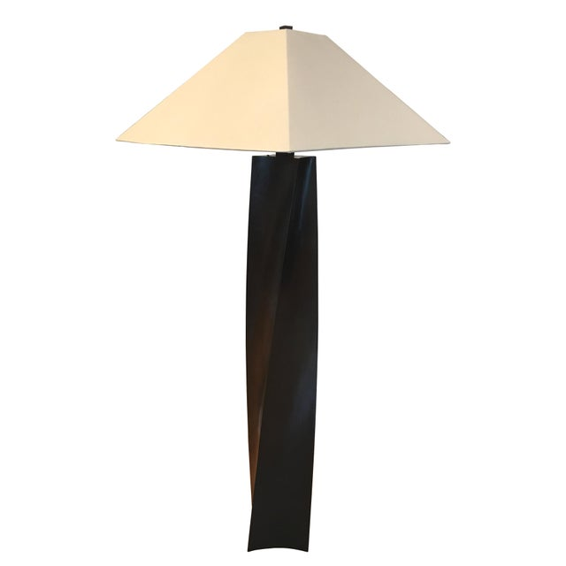 Robert Kuo Helix Black Copper Floor Lamp by Robert Kuo For Sale - Image 4 of 6