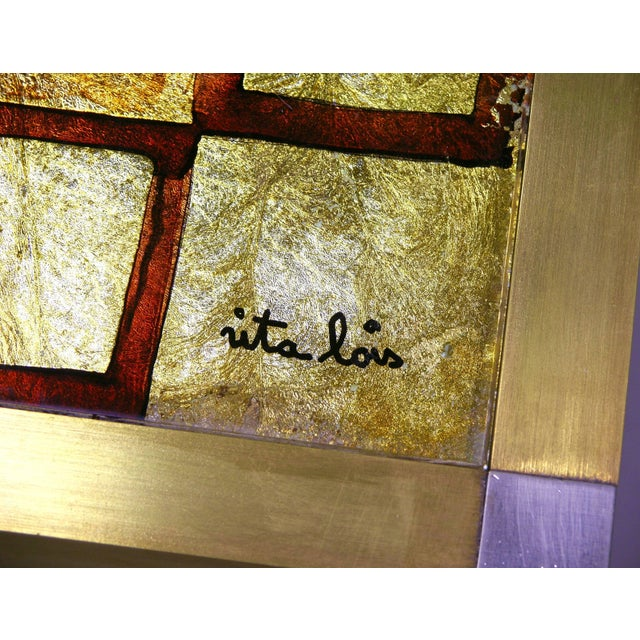 1970s Italian Art Deco Abstract Design Brass Coffee Table With Gold Leaf For Sale - Image 4 of 8