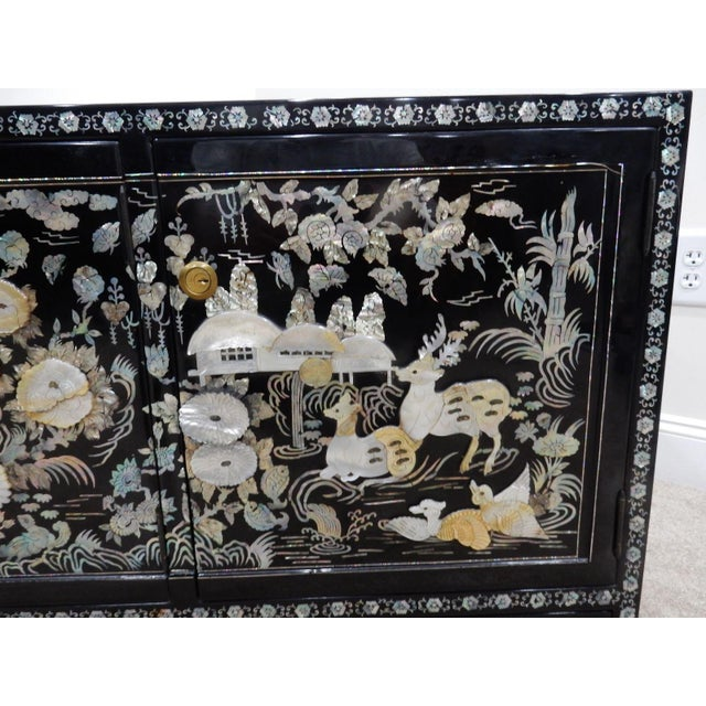 Chinese Mother of Pearl Inlaid Lacquered Cabinet For Sale - Image 11 of 11