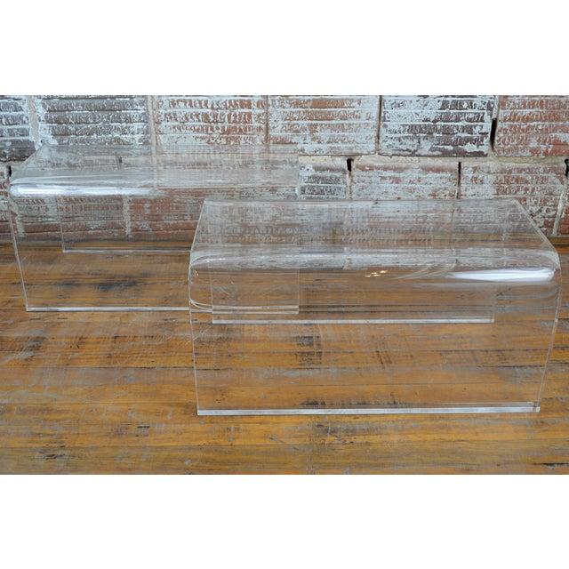 Vintage 1960s-70s Lucite Waterfall Low Tables-A Pair For Sale - Image 4 of 7
