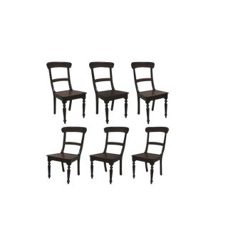 Early 21st Century Crate & Barrel Dark Solid Wood Farmhouse Dining Room Chairs- Set of 6 For Sale