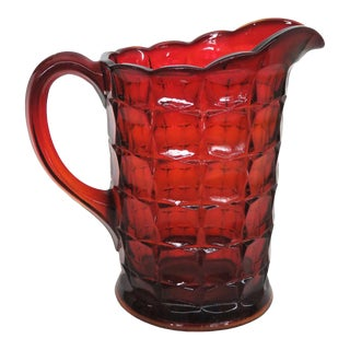Tiara Indiana Glass Sunset Constellation Ruby Red Pitcher For Sale