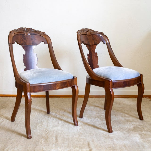Queen Anne French Empire Gondola Chairs | 19th Century Francois Seignouret | a Pair For Sale - Image 3 of 13
