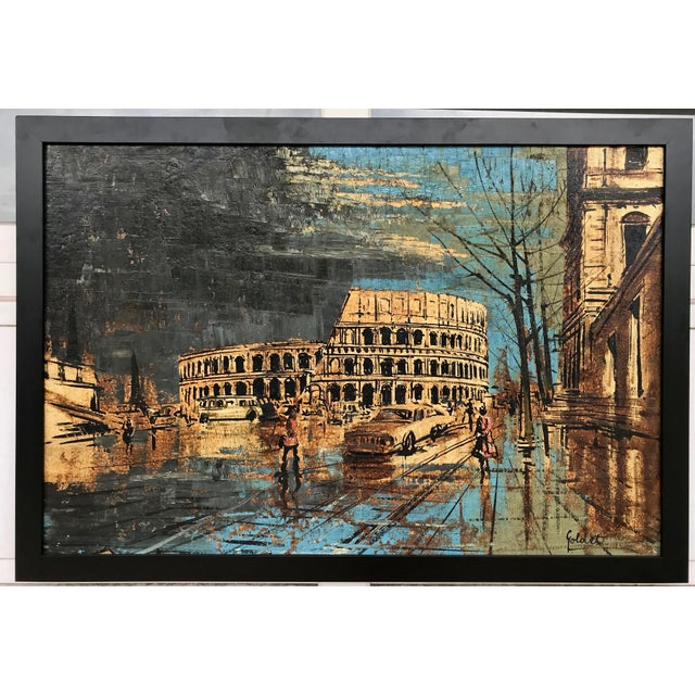 Vintage painting of the Colosseum in Rome. The piece was made in the mid 20th century.