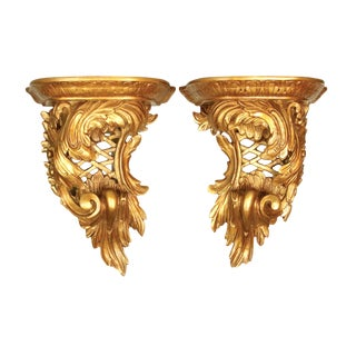 1820's English Carved Giltwood Brackets For Sale