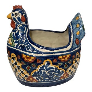 Vintage Mexican Talavera Ceramic Rooster Planter For Sale