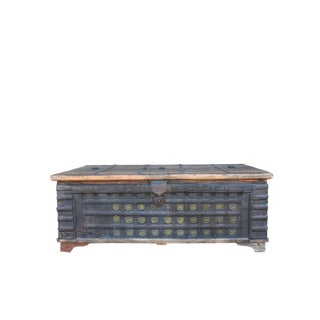 1980s Indian Teak Trunk With Brass Details For Sale