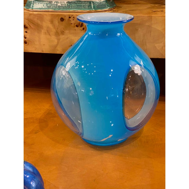"""An attractive blue art glass vase with clear panels. 20th Century 8"""" Diameter x 11.25"""" High"""