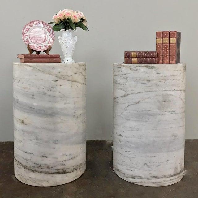 Mid-Century Modern Pair Antique Solid Marble Half-Columns ~ Pedestals For Sale - Image 3 of 13