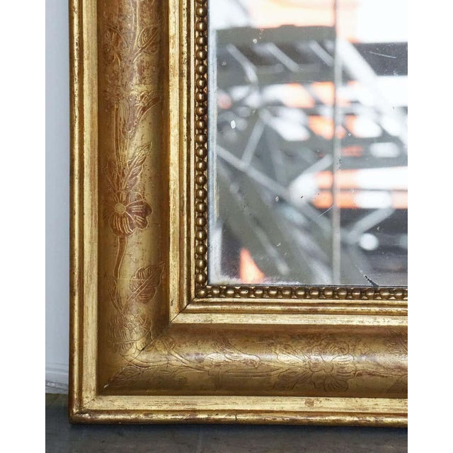 Wood Large Louis Philippe Arch Top Gilt Mirror For Sale - Image 7 of 13