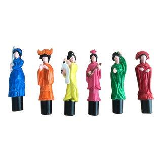 Colorful Metal Die Cast Geisha Figurines - Set of 60 For Sale