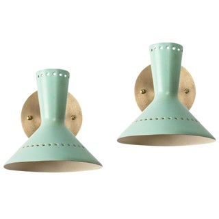 1960s Italian Perforated Double-Cone Sconces in the Manner of Arteluce - a Pair For Sale