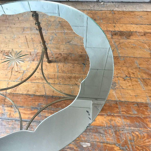 1940s French Round Brass Coffee Table With Etched Glass Top For Sale - Image 5 of 9