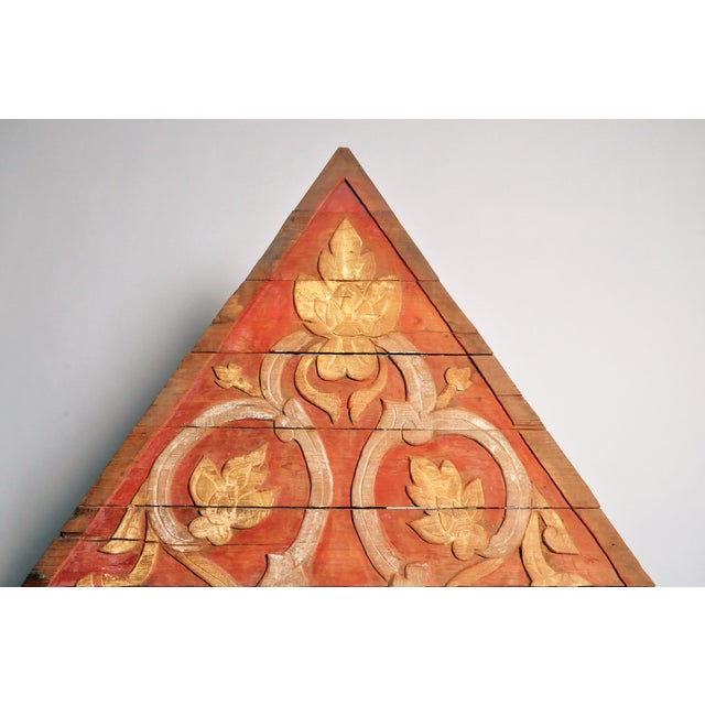 Late 19th Century Teak Wood Architectural Gable Fragment For Sale - Image 5 of 9