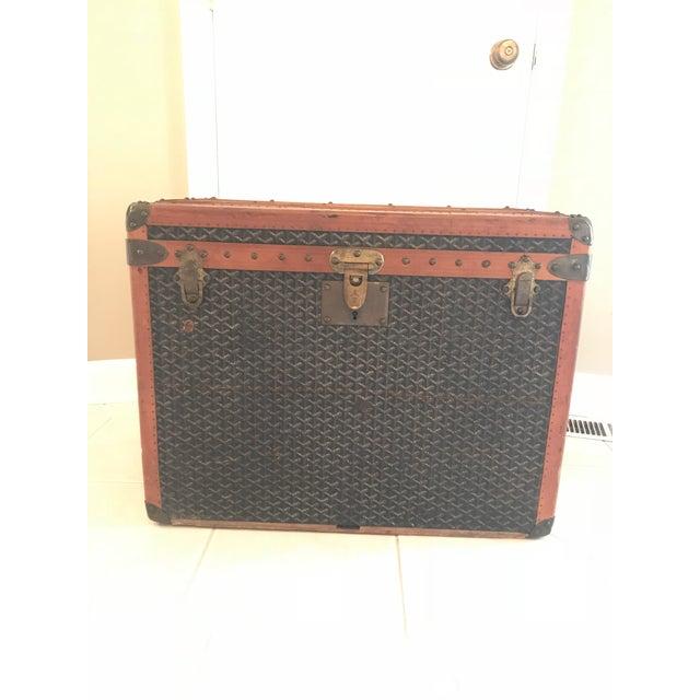 1925 Antique Goyard Steamer Luggage Trunk For Sale - Image 13 of 13