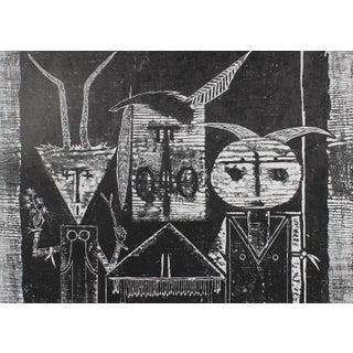 "Seymour Tubis ""Pueblo Ceremonial Trio"" Black & White Woodblock Print, Circa 1968 Circa 1968 Preview"
