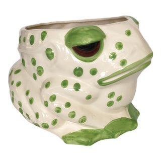 Vintage Ceramic Polka Dot Frog Planter For Sale