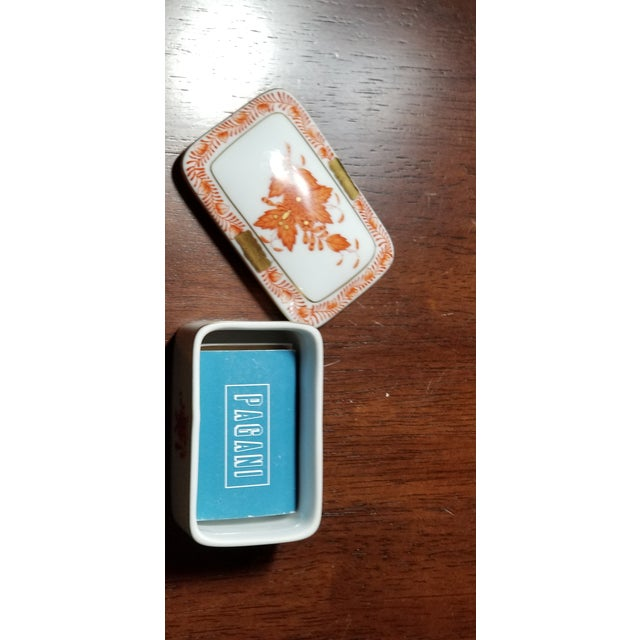 """For sale is a Herend Hungary Chinese Bouquet rust trinket box. It measures about 3"""" long. No chips or cracks. Ideal for..."""