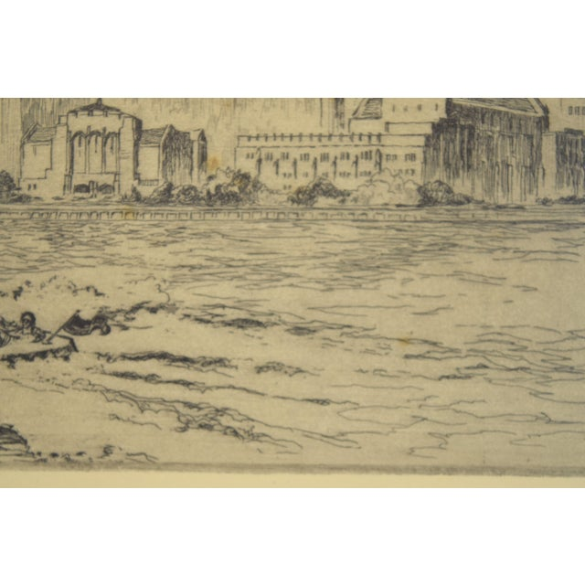 Etching 1950's William Kent Hagerman Chicago Lakefront Skyline Speedboat Etching Print For Sale - Image 7 of 10