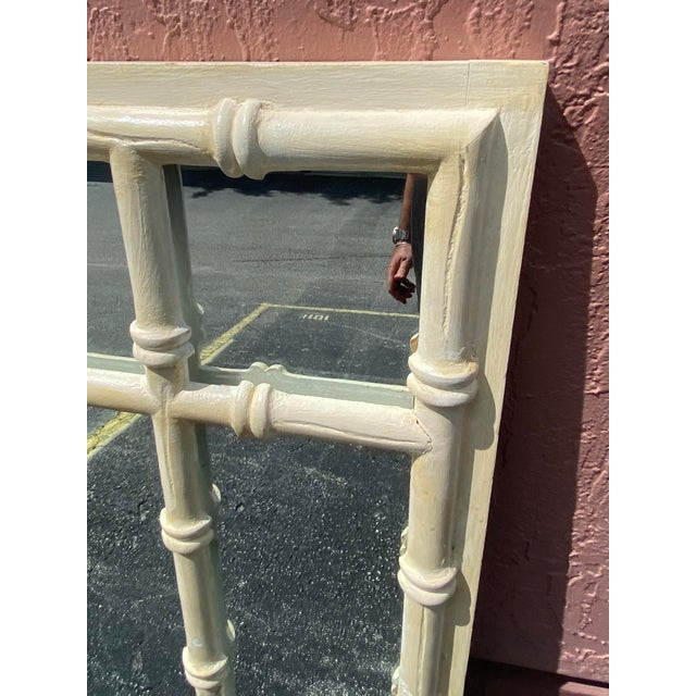 Vintage Coastal Double Bamboo Mirror For Sale - Image 4 of 9
