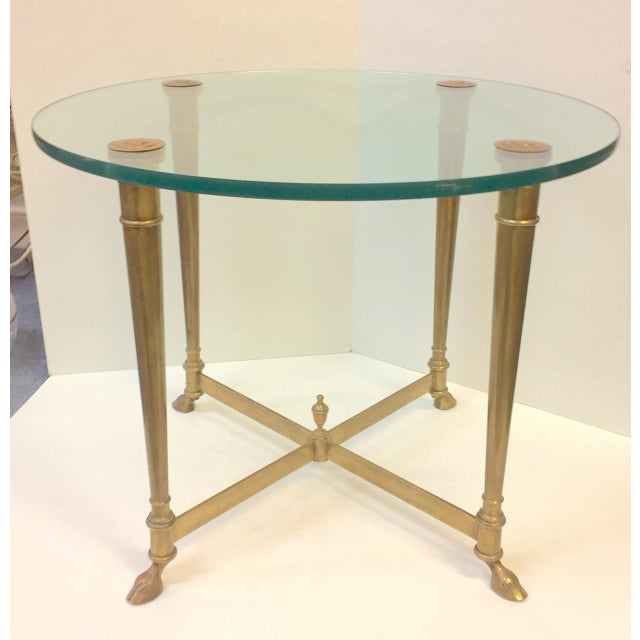 1960s Hollywood Regency Glass and Brass Hoof Table For Sale - Image 9 of 9