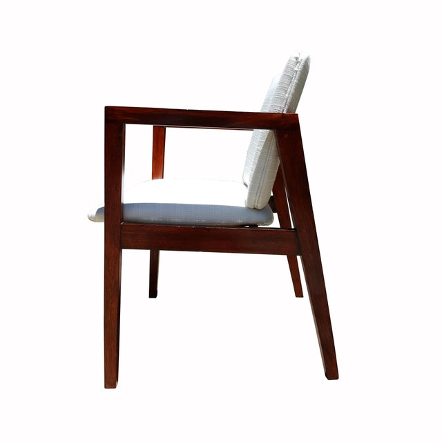 Mid-Century White & Red Wood Office Armchair - Image 2 of 6