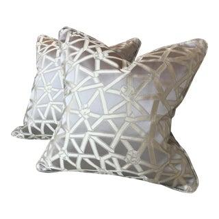 Donghia Coderie Silk Silver Gray Pillows - a Pair For Sale