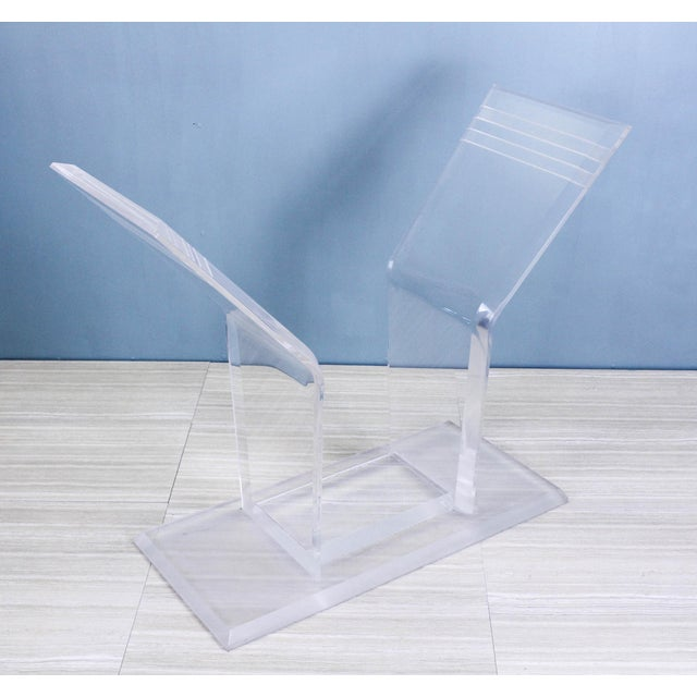 1970s Lucite Pedestal Console For Sale - Image 9 of 11