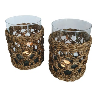 Hand-Blown Glass & Woven Seagrass Candle Holders - A Pair