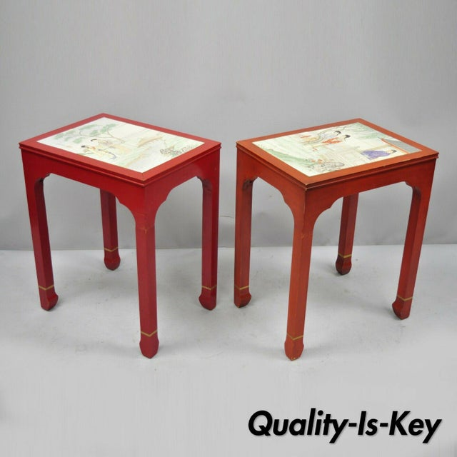 Vintage Oriental Ming Style Red Wooden Side End Tables With Tile Tops - A Pair For Sale - Image 11 of 11
