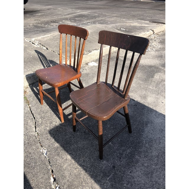 Vintage Rustic Schoolhouse Chairs - a Pair For Sale - Image 10 of 12