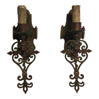 Art Deco Gothic Wall Sconces - A Pair