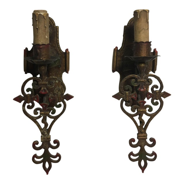Art deco gothic wall sconces a pair chairish art deco gothic wall sconces a pair image 1 of 9 aloadofball Gallery
