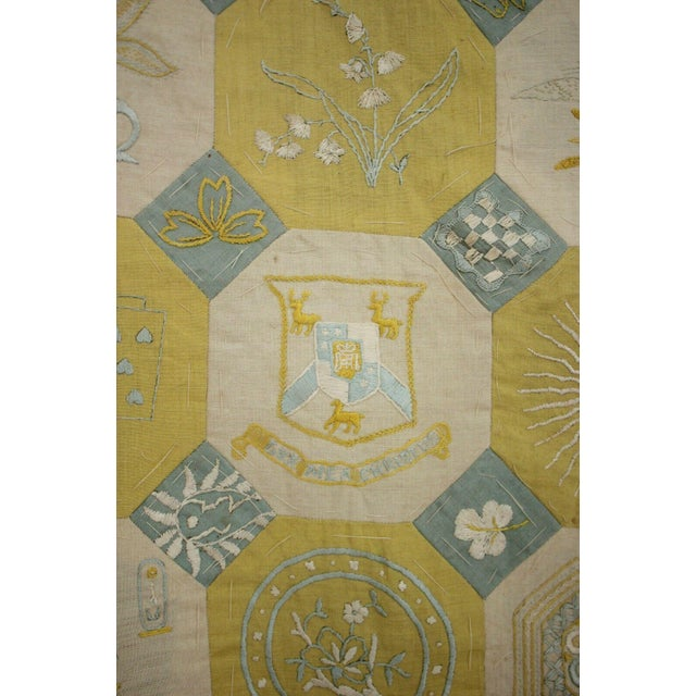 Vintage English Ramsgate Heraldry Linen Embroidered Block Quilt For Sale - Image 9 of 12