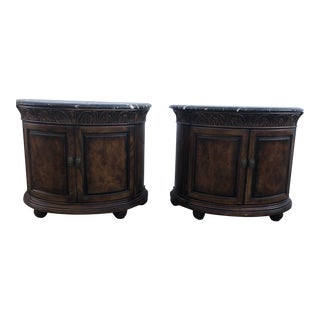 Henredon Wooden and Marble Night Stands - a Pair For Sale