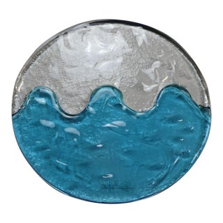 "1990s ""Laguna"" Murano Hand Cast Glass Panel Crystal-Aqua For Sale"