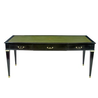 Louis XVI Style Gilt-Bronze Mounted Black Lacquered and Green Leather Top Writing Table For Sale