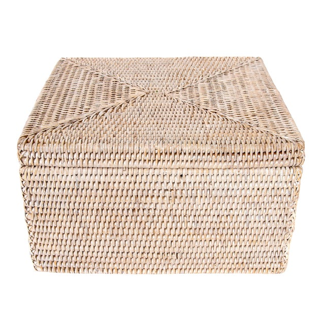 Artifacts Rattan File Box With Lid For Sale