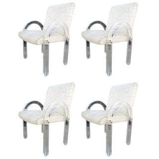 "Set of Four ""Waterfall"" Lucite Chairs by Charles Hollis Jones For Sale"