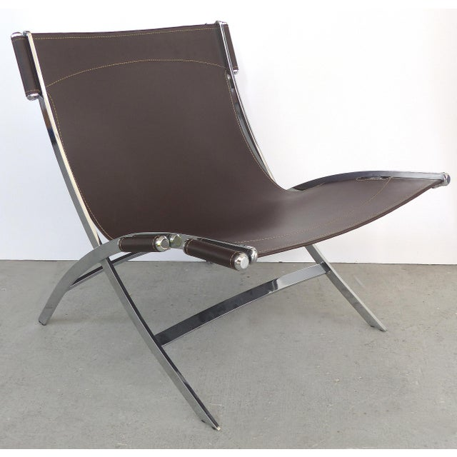 Modern Paul Tuttle, Antonio Citterio for Flexform Italia Scissor Chairs in Stainless Steel & Leather-A Pair For Sale - Image 3 of 13